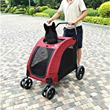 N / A Las Camas de Mascotas Suministros Perro Gato Carrito silleta DODOPET al Aire Libre Plegable Portable Grande de la Carretilla del Perro casero (Color : Red)