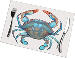 Pullan Eudora ICY Blue Crab Placemats Set of 6 Stain-Resistant Anti-Skid Placemat Washable Table Mats 12x18 Inch