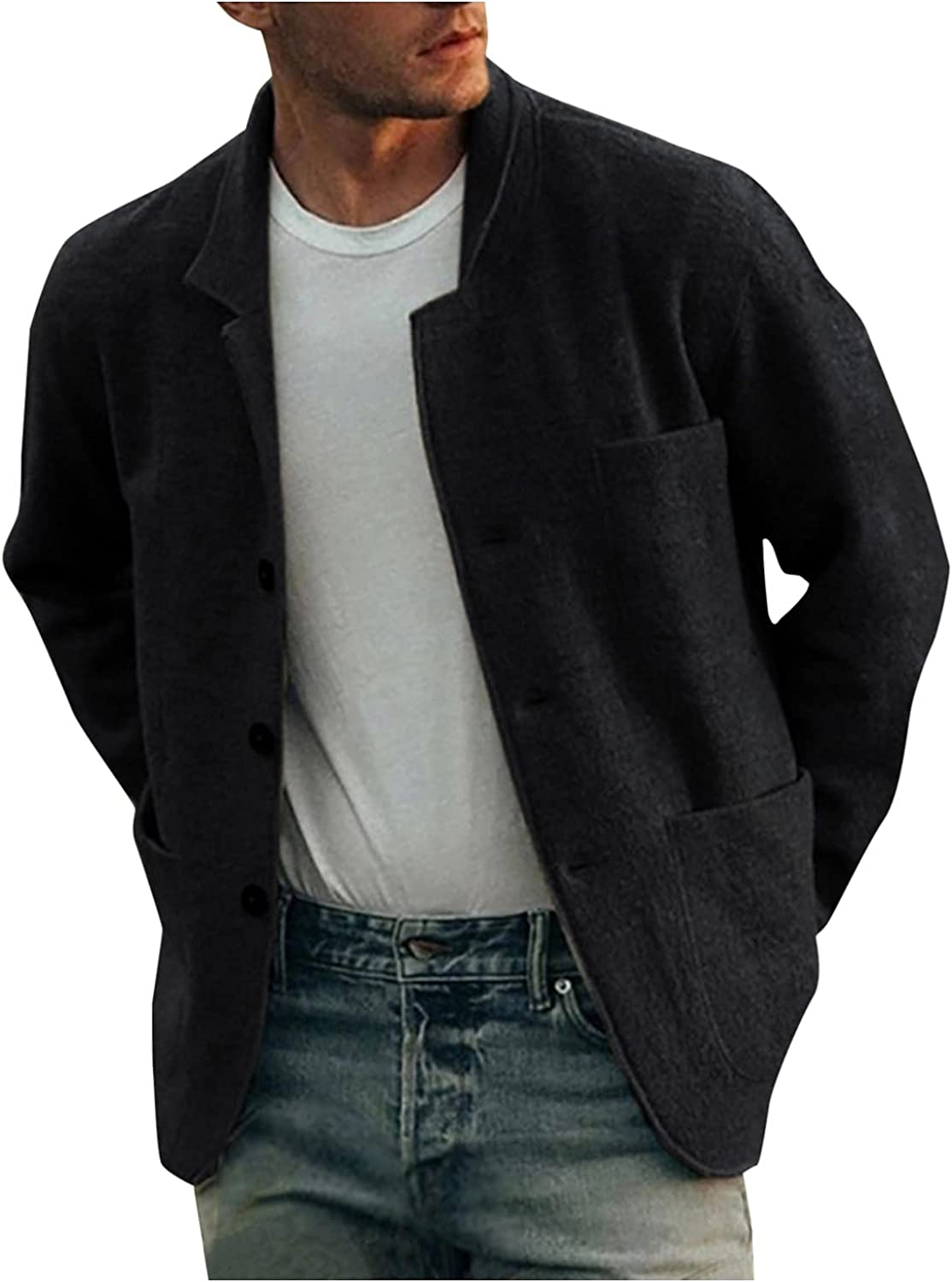 Men's Quilted Lined Wool Blend Hipster Coats Casual Pure Color Loose Single Breasted Jacket for Fall/Winter Pocket