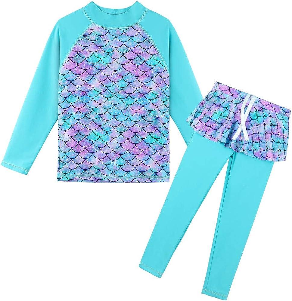 TFJH E Girls Long Sleeve Swimsuits Set Guard Miami Mall Skirt Topics on TV 2-Pieces Rash