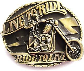 Live To Ride Skeleton Antique Brass Plating Belt Buckle
