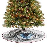 Homesonne Alfombra de árbol de Navidad abstracta ojo humano con pestañas de mariposa, estilo de pint...