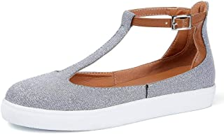 RUNSUN DAILY Mary Jane Shoes Flats Sandals for Women T-Strap Slip On Sneakers Leather Summer Shoes with Buckle Ankle Strap