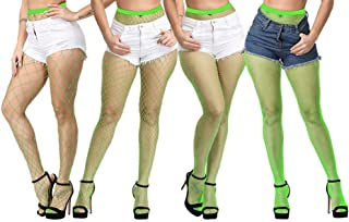 ADESUGATA Women Fishnet Stockings - 4 Pairs High Waisted Fishnets Tights Pantyhose Sheer Mesh Leggings Net Pantyhose for Dancing Party,Super Large/Large/Medium/Small Socks