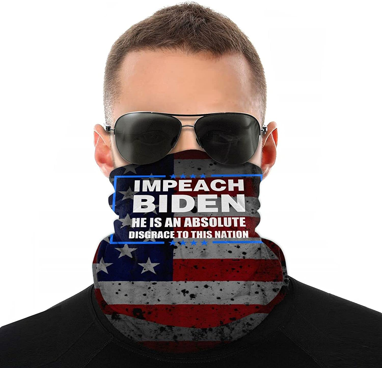 Impeach Biden He is an Absolute Disgrace to This Nation Face Cover Mouth Mask Neck Warm Multi Function Balaclava for Outdoor White