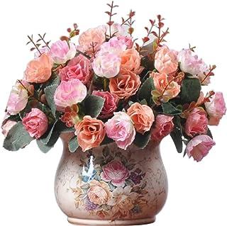 Ramo de Rosas Artificiales de Seda de LumenTY Ideal para Bodas fiestas Cocinas y Decoración del Hogar Cada Pack Tiene 7 Ramas con 21 flores Falsas Diseño de Hojas Vintage Pack de 2 Unidades Pink
