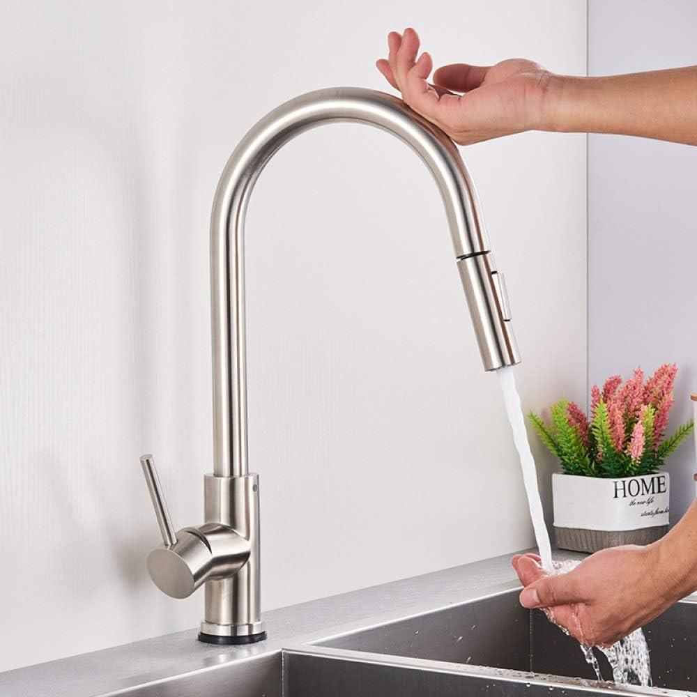 LCDIEB Kitchen Faucet Matte Black Pull Out Sensor Kitchen Faucet Sensitive Smart Touch Control Faucet Mixer for Kitchen Touch Sensor Kitchen Mixer Tap,Brushed Nickle