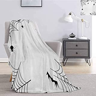jecycleus Spider Web Rugged or Durable Camping Blanket Spiders Bats and Little Stars Monochrome Cobwebby Design Spooky Horror Elements Warm and Washable W91 by L60 Inch Black White