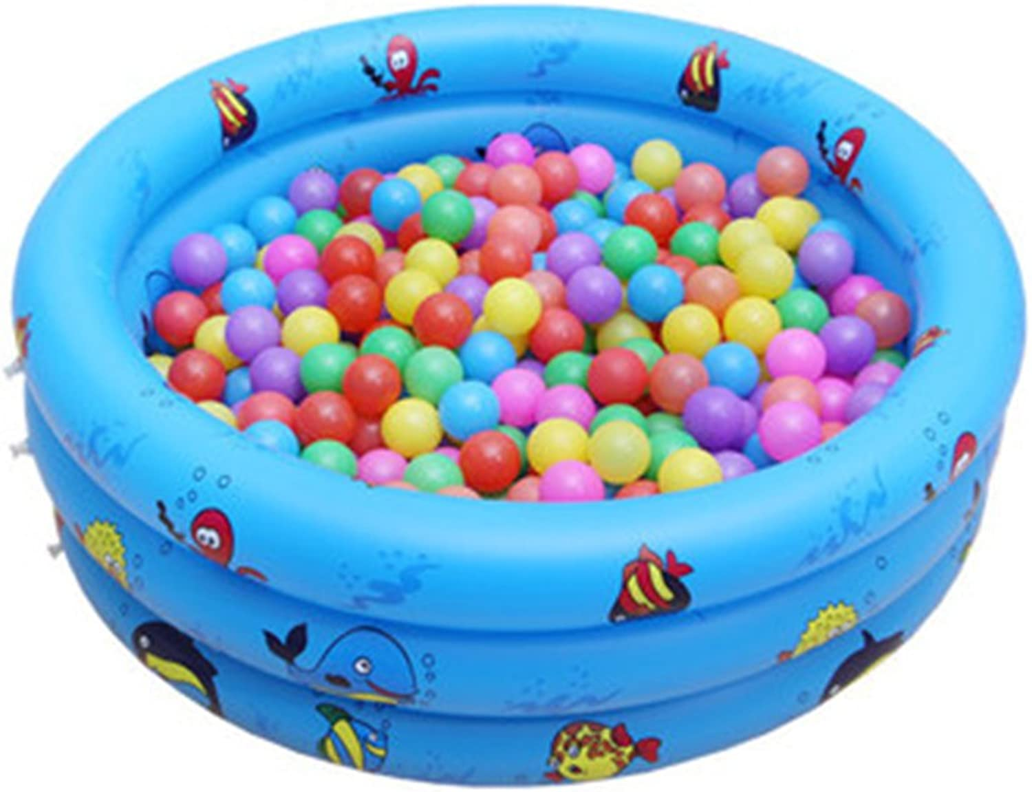 Drasawee Kids 3 Rings Inflatable Bath Tub Swimming Paddling Pool Ball Pit bluee 110cm