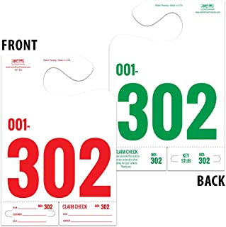 3-Part Auto Service Dispatch Control Hanger Tags - 3 Jumbo Digits - Red on Front/Green on Back - Pack 1,000 White