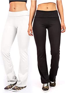 Ambiance Apparel Women's Juniors Foldover Stretchy Yoga Pants Combo