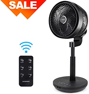 GOODNEW Air Circulator Fan, Environmental Pedestal Fan with 3 Modes, 4 Variable Speed Control, 3D Oscillating Movement, 7h Timer (Big Black)