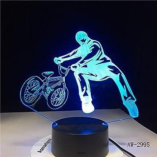3D Led Chevet Bmx Nuit Lumi/ère V/élo Forme Usb Lampe De Table 7 Changement De Couleur V/élo Home Decor Chambre Sommeil Luminaire Cadeaux