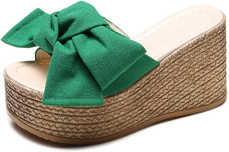 Hoxekle Sunmer Platform Wedge Slippers Women Outside shoes Butterfly-Knot Sandals Girls Flip Flop Slides Femme