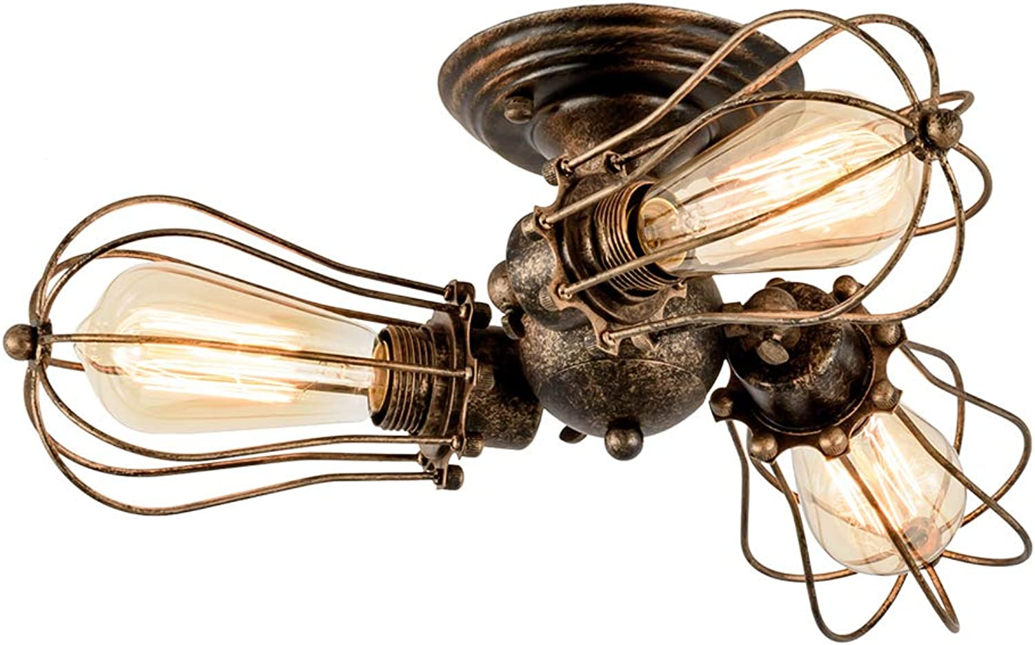 Vintage Ceiling Light Industrial, LULING Adjustable Socket Metal Wire Cage Lamp Semi-Flush Mount Rustic Ceiling Light Metal Lamp Fixtures (No Bulb) (with 3 Light) (Bronze)