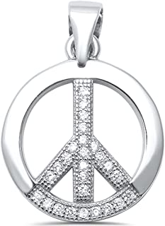 Sterling Silver Round Cubic Zirconia Peace Sign Charm Pendant