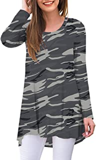 Women's Casual Round Neck Loose Tunic T Shirt Blouse Tops