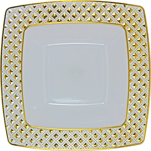 Decorline - Desechable Plato sopero Cuadrado 400ml, 24x24 cm vajilla desechable Resistente Partido-Blanco con Borde Dorado - Plástico rígido - Diamond Collection - 10 Piezas