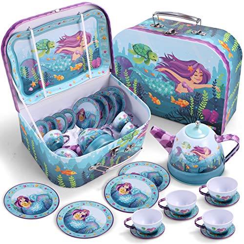 JOYIN Meerjungfrau Wackelkäfer Teeservice Tin Teekanne Set für Kinder Tee Party Küche Pretend Play