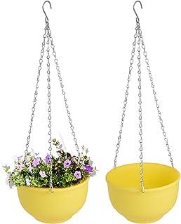Vencer Set of 2 Metal Hanging Planter Imitation Ceramic Plastic Flowerpot 9.3 inch Water Permeable Type,Round Shape,Yello...