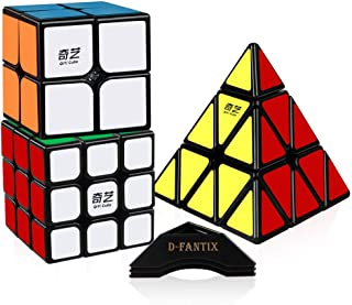 D-FantiX Speed Cube Set, 2x2x2 3x3x3 Pyramid Speed Cubes Bundle - Qiyi Qidi 2x2 Qihang 3x3 Qiming Pyramid Cube Puzzle Toys Black