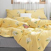 FenDie نمط فروع زهرة أصفر غطاء لحاف مجموعة الملكة المراهقات الفراش غطاء لحاف سرير فردي زهري غطاء لحاف القطن للفتيات النساء