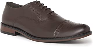 NOBLE CURVE Brown Leather Oxford Shoes