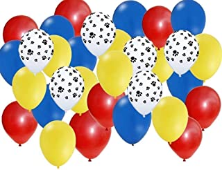 amscan Paw Party Balloons, Paw Print, Red/Yellow/Blue, Set of 30