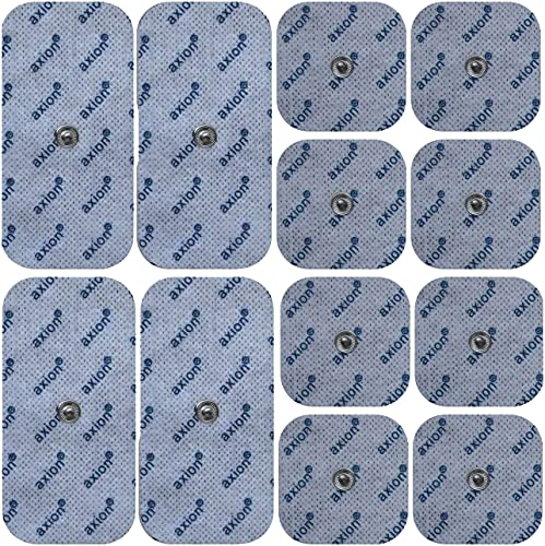 axion - Set di 12 Elettrodi pads Premium 8 * 4,5x4,5 cm e 4 * 10x5 compatibili con dispositivi SANITAS & BEURER elettrostimolatori TENS e EMS