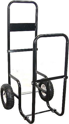 2021 Sunnydaze online sale Firewood Log Cart Carrier - Outdoor or Indoor Black Steel Wood Rack Storage Mover - Rolling Wheeled Metal online sale Dolly Hauler - Wood Moving Equipment outlet sale