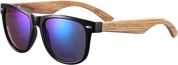 Amexi Bambus-Sonnenbrille mit Brillen-Etui, Schraubenzieher und Tasche - polarisiert - UV400 - verschiede Farben u verspiegelte Gläser, mit Bügeln aus Bambus | blau verspiegelt UV-Schutz …
