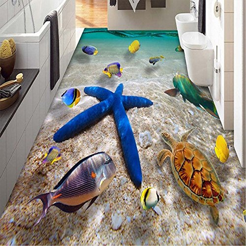 Kicode 3D PVC Starfish Floor Decals Sticker Wall Removable Vivid Tool Sea Beach Decals Decoration