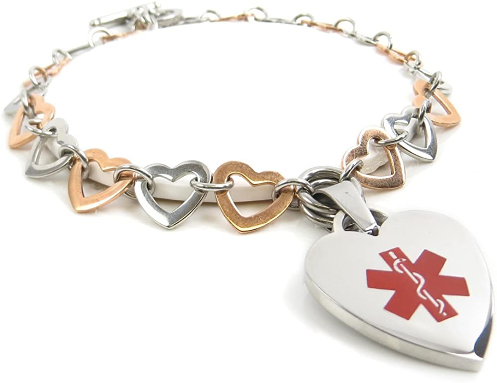 My Price reduction Identity Doctor- Medical ID favorite Charm Steel Hear Colored Bracelet