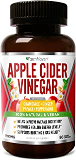 Apple Cider Vinegar Capsules with Ginger, Papaya & Chamomile | 1390mg | Improves Digestion, Energy, Immunity | Soothes Gas...