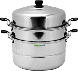 Royalford Induction-Safe Stainless Steel Large 3-Tier Food Steamer Pot with Lid| Double Layer Multi Food Cook Stock Pot - ...