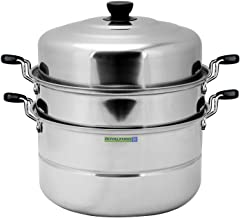 وعاء طهي على البخار متعدد الاستعمالات مزدوج الطبقة من رويال فورد - 30 سم و 9 لتر، بلون فضي موديل RF5014