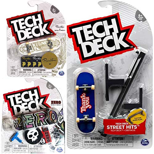 TECH DECK Bar The Streets Skateboard Set Stunt Board Hits Mini Fingerboard Flat Rail Fun Pack Bundled with 2 Ultra Rare Graphics + Logo & Rad Skater Decals Designs 3 Items