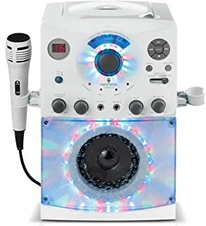 Singing Machine SML385BTW Karaoke System with LED Disco Lights, CD+G, and Microphone, White