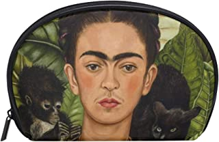 Anna Cowper Frida Kahlo Self-Portrait With Thorn Necklace And Hummingbird Half Moon Cosmetic Makeup Toiletry Bag Travel Handy Organizer Pouch for Women Girls