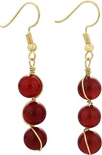 TUMBEELLUWA Stone Dangle Earrings Healing Crystal Beads Copper Wire Wrapped Hook Drop Earring Handmade Jewelry for Women