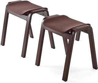 サンワダイレクト スタッキングスツール オットマン 木製 積み重ね可能 2脚セット 完成品 150-SNCH009