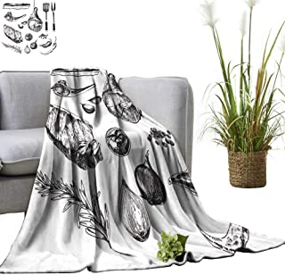 YOYI Blanket as Bedspread Meat Steak Sketch Draw Designer templaate. Grille Lamb Rib Cozy and Durable Fabric-Machine 50