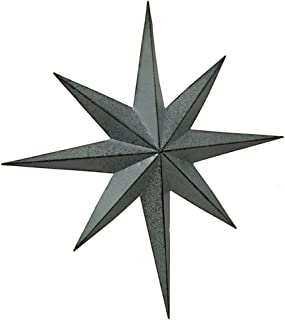 Zeckos Rustic Galvanized Finish Metal 8 Pointed Star Wall Hanging 17 inch