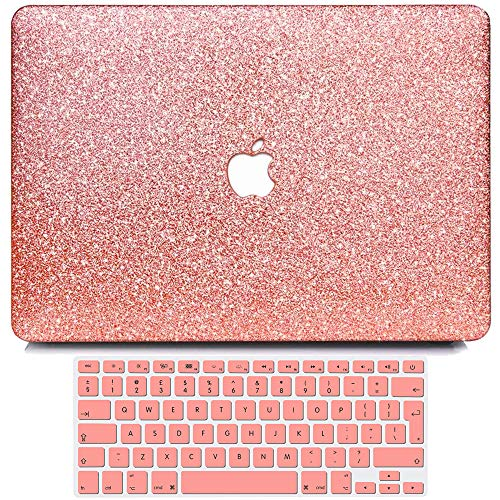 BELK Compatible with MacBook Air 13 inch Case 2017-2010 Release A1466 A1369, Slim Smooth Shining Sparkly Hard Shell with Keyboard Cover for Air 13.3 No Retina Display No Touch ID, Glitter Rose Gold
