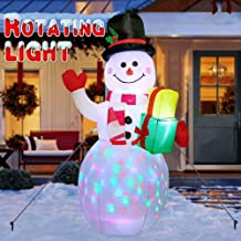 AerWo 5ft Christmas Inflatables Blow Up Yard Decorations, Greeting Snowman Inflatable with Rotating LED Lights for Christmas Yard Decorations Outdoor