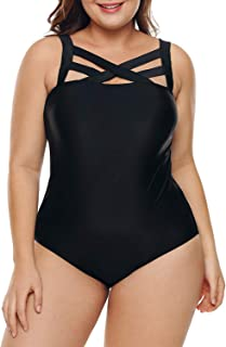 14d91a22cf Acelitt Women's Plus Size Solid Black Swimsuit Monokini Plus Size Swimwear  (M-XXXL)