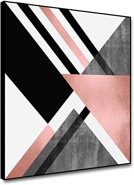 Amazon Com Arrmt Framed Canvas Abstract Wall Art Painting Pink Grey White Geometric Triangle Color Blocks Nordic Modern Home Decoration Living Room Bedroom Kitchen Prints Decor Poster 12x12inch Posters