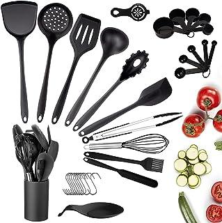 33pcs Ustensiles de Cuisine Silicone, Ustensiles de Cuisine Noir avec Support, Set de Cuisine Antiadhésive Anti-Rayure Spa...