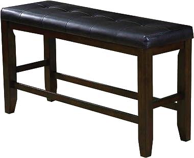 ACME Furniture bench, Black PU & Espresso