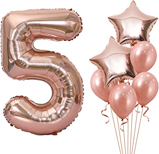 Unisun Lot de 4 ballons numérotés numéro 5 - 100 cm - Or rose - Grands ballons à l'hélium - Pour filles et femmes - Pour f...
